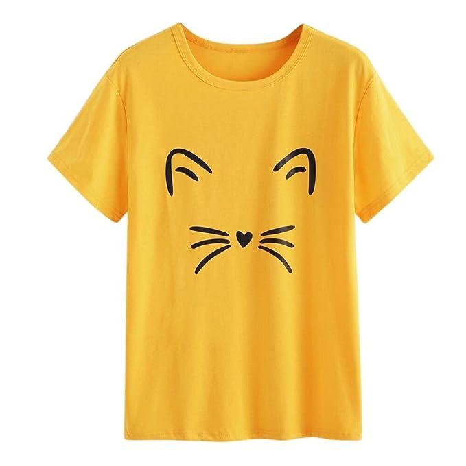 CLOOM Damen Sommer Elegant Tops Niedlich Katze Tunika Frauen Bluse Cat Printed  Oberteil Loose Casual Frauenhemden Vintage Hemd Basic T-Shirt Kurzarm ... 127ca85e55