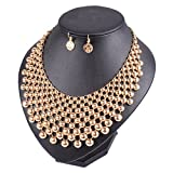 Yuhuan Jewelry Set Women Fashion Statement Necklace Earrings Sets Collar Chokers Necklace (Gold)