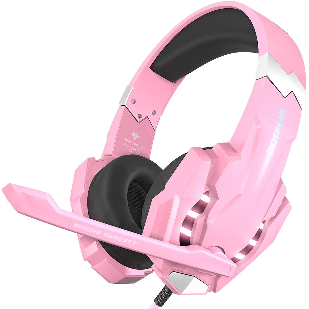 BENGOO Stereo Gaming Headset for PS4, PC, Xbox One Controller, Noise Cancelling Over Ear Headphones Mic, LED Light, Bass Surround, Soft Memory Earmuffs for Laptop Mac Nintendo Switch Games - Pink