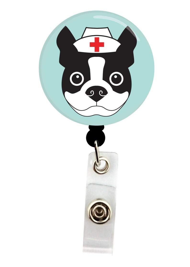 Nurse Boston Terrier Button with or without Badge Reel Retractable Name Badge Holder Interchangeable Badge Reel