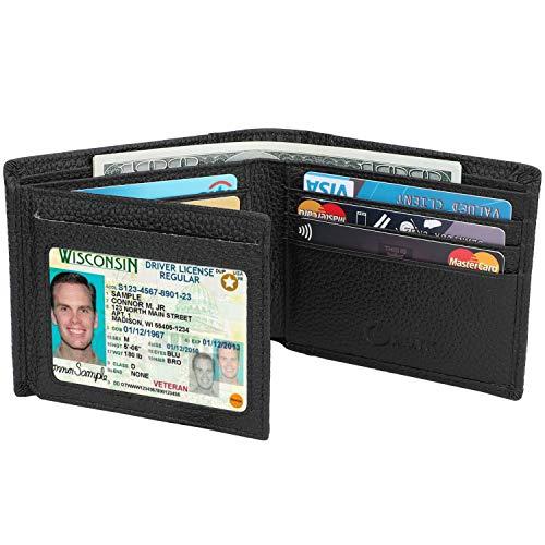 Men's Wallet - RFID Blocking Cowhide Leather Vintage Trifold Wallet (Natural Grain Black)
