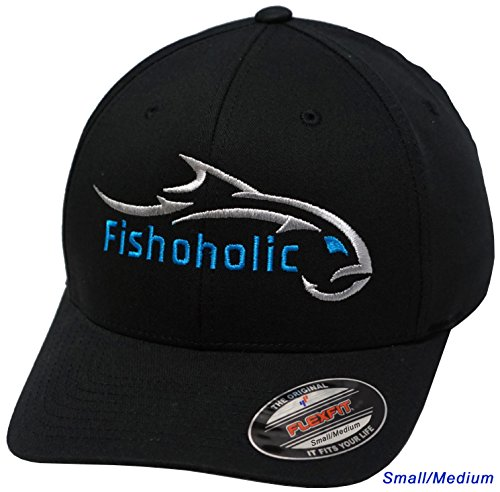 It A Boy Baseball - Fishoholic Baseball Fishing Hat ~ 6 Colors & 3 Sizes. Angry Fish Logo on Trucker Snap Back or Flexfit ~ Fishaholic USPTO (R) TM ~ Saltwater Fly Fish Bass Trout Hunt. Join Our Team (FF-Silver-BLU S/M)
