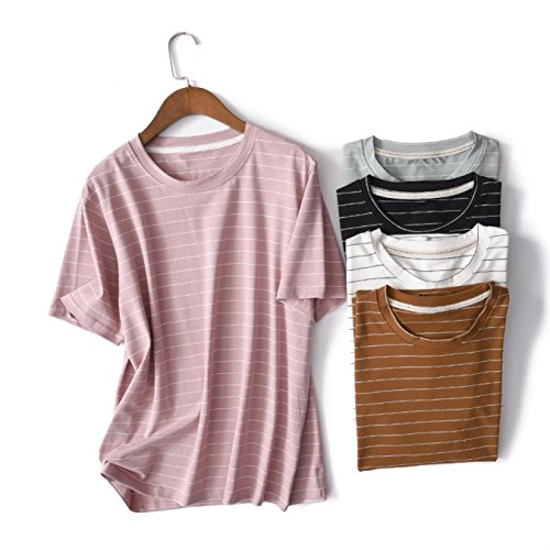 Amazon.com: Harajuku Cotton Summer Fashion Hit Color Striped Female T-Shirt Loose Cute Casual T shirt Girls Street Costume: Clothing