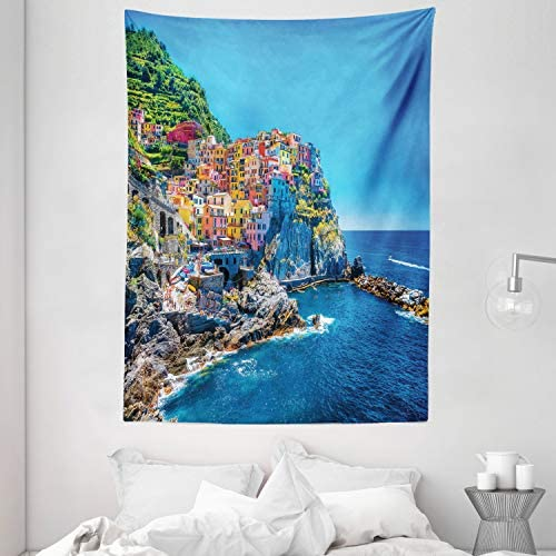 Ambesonne Landscape Tapestry, Seaside Colorful Houses on The Hill European Architecture Themed Seascape Photo, Wall Hanging for Bedroom Living Room Dorm, 60 X 80 , Blue Multicolor