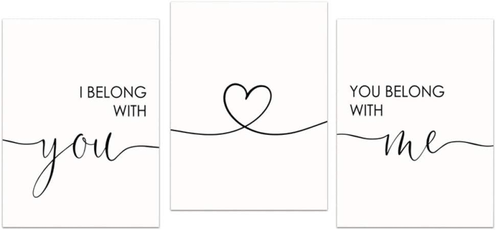 Minimalist Wall Art I Belong with You and You Belong with Me Poster Canvas Print Painting Love Quotes Nordic Bedroom Decoration 16x24inch