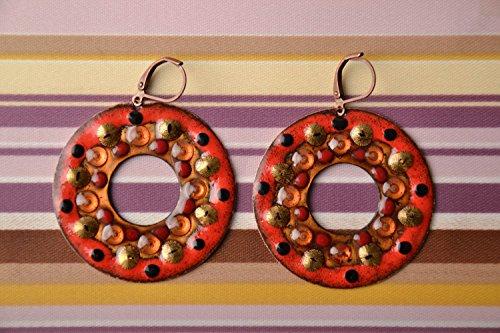 Round Copper Earrings With Enamel
