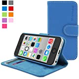 iPhone 5C Case, SnuggTM - Blue Leather Wallet Cover and Stand with Card Slots & Soft Premium Nubuck Fibre Interior - Protective Apple iPhone 6 Flip Case - Includes Lifetime Guarantee