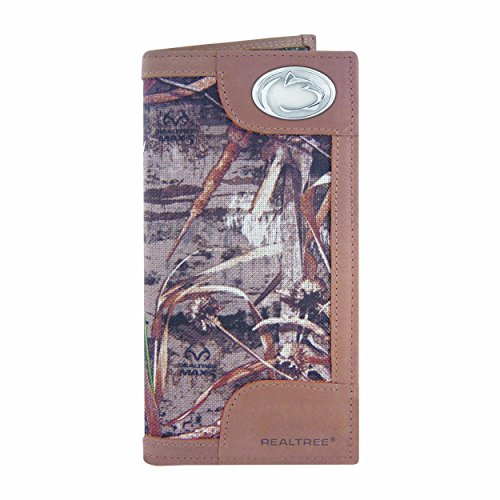 NCAA Penn State Nittany Lions Zep-Pro Realtree Nylon and Leather Secretary-Style Roper Concho Wallet, Camouflage, One Size
