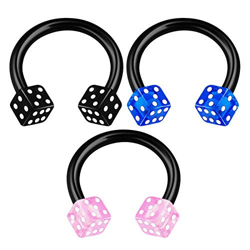 3PCS Anodized Horseshoe Circular Barbell 16 gauge 5/16 8mm 3mm Dice Nose Septum Labret Earrings Helix Piercing Jewelry 1737