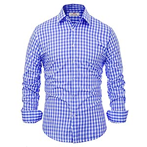 Paul Jones Casual Long-Sleeve Plaid Dress Shirt Checkered Button Down Shirt