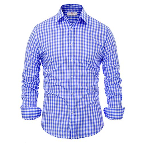 Casual Business Blue Grid Check Dress Shirts for Men Slim Fit (L) KL-2