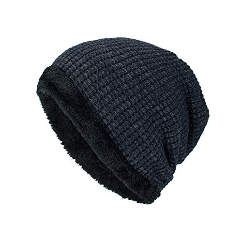 URIBAKE ❤ Unisex Winter Beanies Solid Thick Knitted Wool Lining Outdoor Ski Slouchy Crochet Hat Caps (Helmet Monster Motorcycle Energy)