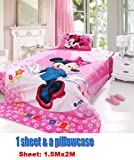 pink purple 2 items Disney Minnie Mouse dancing a cover blanket Sheet & a pillowcase for girl single or full bed