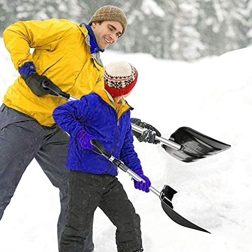 SUNYPLAY Snow Shovel with Adjustable Aluminum Handle and Wide Blade Scoop Shovel, Digging Snow Removal Heavy Duty Snow Shovel for Car Driveway, Camping and Outdoor Emergency