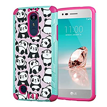 Capsule Case Compatible with LG Aristo 2 (X210), Aristo 2 Plus, Fortune 2, Rebel 3, Risio 3, Tribute Dynasty, Zone 4, K8, K8 Plus 2018 [Slim Combat Case Mint Pink] - (Pink Panda)