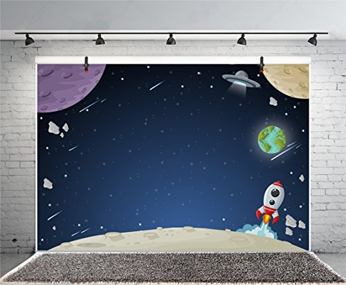 (Leyiyi 8x6ft Photography Backdrop Grunge Happy Birthday Background Galaxy Stars Universe Planet Rocket Moon Surface Summer Party Rock Music Banquet Baby Shower Photo Portrait Vinyl Studio Video Prop)