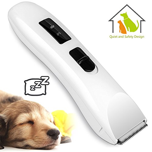 Low Noise Level Cordless Rechargeable Electric Pet Grooming and Trimming Clippers Kit, Safety Blade Design for Dog and Cat Hair Shaver with 4 Guide Combs, Oil, USB Charging Cord, etc (Concise white)