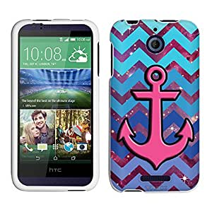HTC Desire 510 Case, Snap On Cover by Trek Anchor on Chevron Teal Blue on Nebula Case