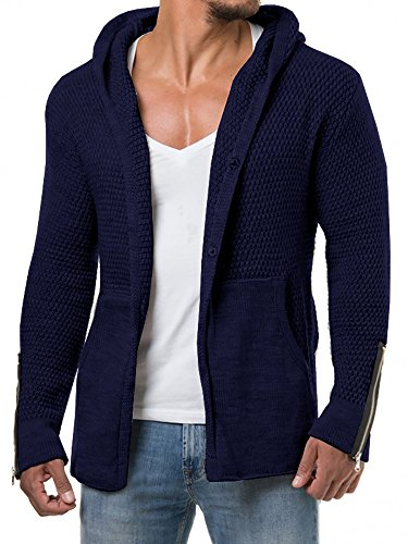 PASLTER Mens Long Sleeve Slim Fit Knit Hoodie Open Front Shawl Collar Longline Cardigan Sweater by PASLTER