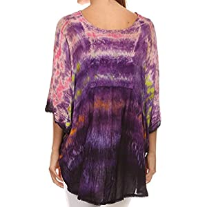 Sakkas 15031 - Lepha Long Wide Multi Colored Tie Dye Sequin Embroidered Poncho Top Blouse - Pink - OS