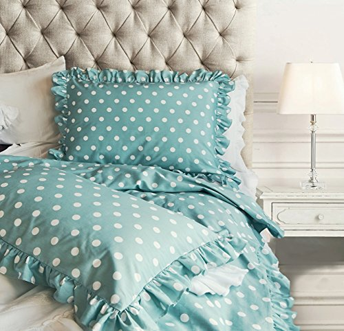 Chic Ruffled Edge Polka Dot Duvet Quilt Cover Classic Parisian Romantic Vintage Ruffle Girls Teen Cotton 3pc Bedding Set Full Queen Turquoise or Pink (Queen, Blue) - Shabby Pink Cottage
