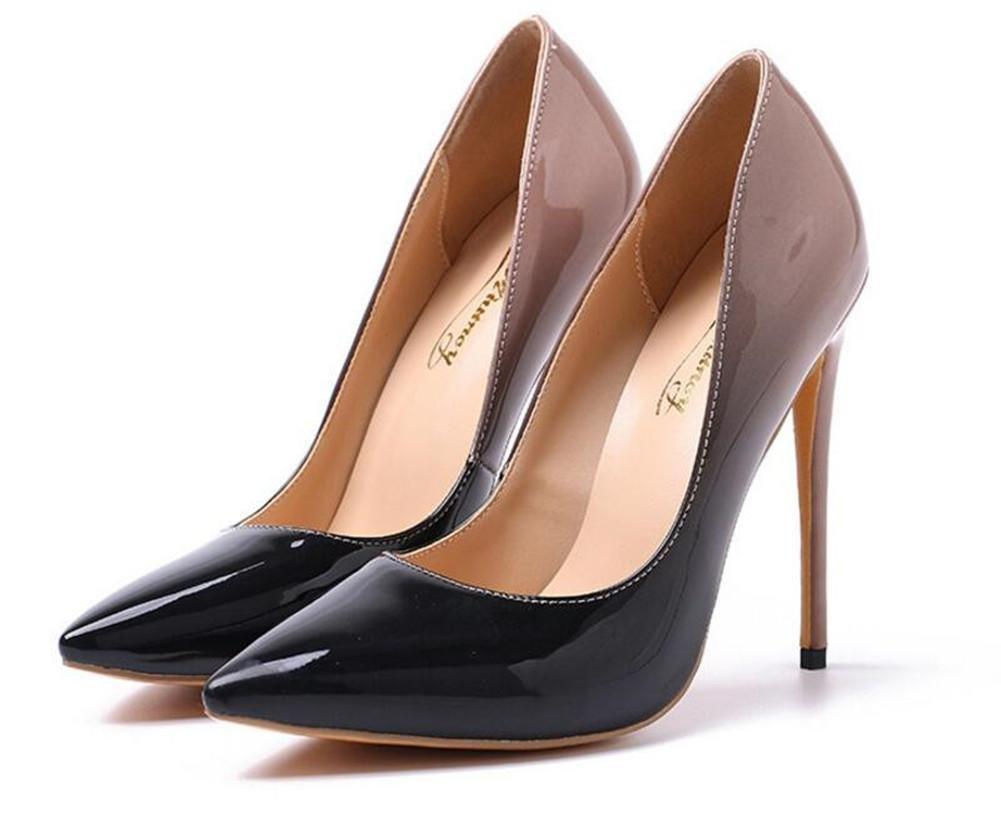 xie Chaussures pour femmes Cuir verni Bout pointu Talon aiguille Pompes Taille 36T43