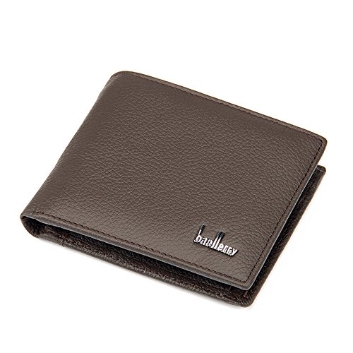 Fashion Korea Style Men's Cow Leather Flip out ID Wallet Card Holder Bags MQB002 (Brown)