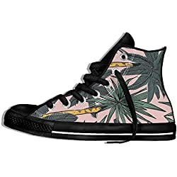 NAFQ Green Plant Summer Pink Classic Canvas Sneakers Shoes Lace Up Unisex High Top