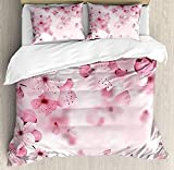 Eastern King Sheets for Sale 4 Piece King Size Duvet Cover Set,Floral Japanese Sakura Flowers Blossoms Eastern Spring Nature Theme,Bedding Set Luxury Bedspread(Flat Sheet Quilt and 2 Pillow Cases for Kids/Adults/Teens/Childrens