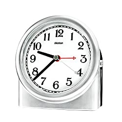 Non-ticking Analog Alarm Clock with Snooze and Nightlight, Adjustable Smart Light Desk alarm Clock Protect the Eyes, Battery Powered(Silver)