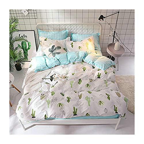 KFZ Bed Set Bedding Set Duvet Cover Set Bed Flat Sheet Pillow Covers No Comforter Twin Full Queen King Sheets Set ZL Bear Bingo Apple Lavender Design 4pcs for Kids (Cactus Star, Pink, Twin 59