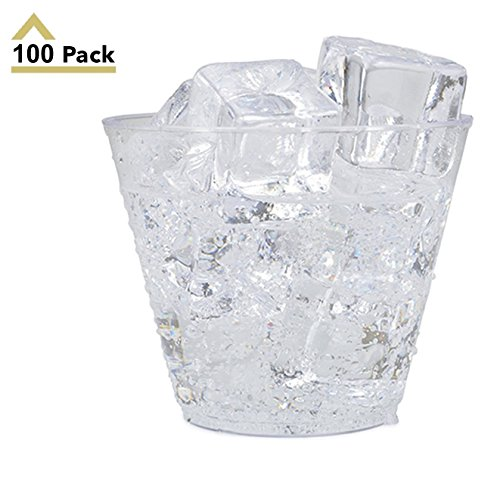 Clear Disposable Cups - 9oz Clear Plastic Cups 100-Count Disposable Party Cups/Old Fashioned Reusable Hard Plastic Tumblers For Drink, Snack, Appetizer & Dessert - Stock Your Home