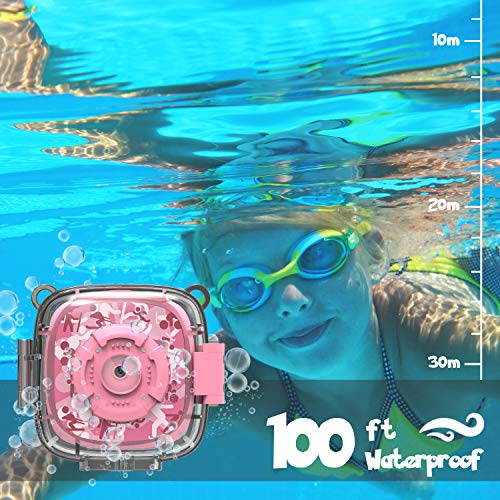AKAMATE Kids Action Camera Waterproof Video Digital Children Cam 1080P HD Sports Camera Camcorder for Boys Girls, Build-in 3 Games, 32GB SD Card (Pink) by AKAMATE (Image #1)