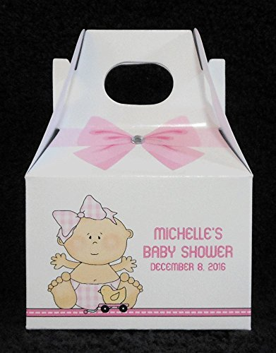 Personalized Baby Shower Favor Boxes, Baby Girl With Ducky (Ducky Party Favors Baby Shower)
