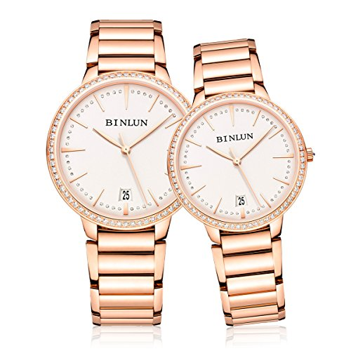 BINLUN Rose Gold His and Hers Couple Watches Ultra Thin Automatic Pair Watch for Men Women Diamante