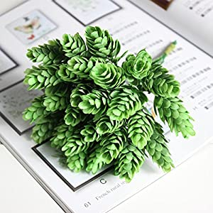 FYYDNZA 30 Head 1 Package Simulation Green Plant Artificial Plastic Flower For Diy Home Decoration Artificial Flower Wedding,4 77