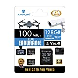 2-Pack High Endurance 128GB MicroSDXC Card for Video Monitoring - Dash Cam, Body Cam, Surveillance Cam, Home Security Cam, Drone, Action Camera. Amplim U3, V30, A1, 4K UHD, Micro SD TF with Adapter