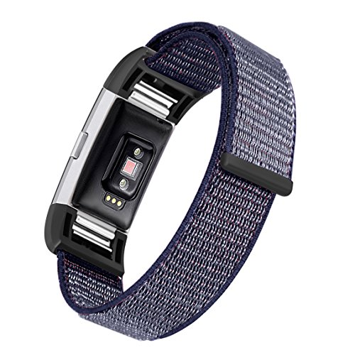 bayite Nylon Bands Compatible Fitbit Charge 2, Replacement Accessory Strap Wristbands Women Men Large Small, Color5 Small