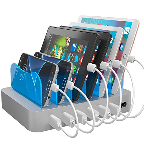 Hercules Tuff Fast Charging Station for Multiple Devices - Variety of 6 Short Mixed Charger Cables Included for iPhone, iPad, Android and Virtually All Other USB Enabled Devices - Silver (Portable Cell Tower)