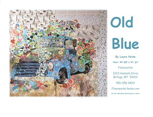Fiberworks Old Blue Vintage Truck Collage Wall Hanging Quilt Pattern Laura Heine