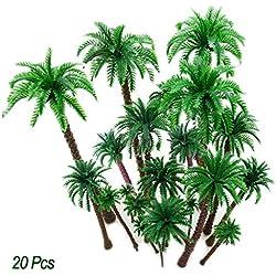 Hatisan 20Pcs Coconut Palm Model Trees/Scenery Model Plastic Artificial Layout Rainforest Diorama, Building Model Trees Cake Topper, Model Train Railways Architecture Landscape (Dark trunk)