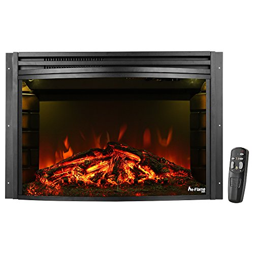 Oak Classic Vented Gas Logs (Quebec Electric Fireplace Stove Insert by e-Flame USA (Matte Black) - 26-inches Wide, Curved with Remote Control, and Features Heater and Fan Settings with Realistic Brightly Burning Fire and Logs)