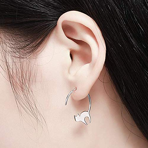 Jin Sheng Cat Dangle Earrings 925 Sterling Silver Pull Through Animal Cat Hoop Earrings for Women.Girls