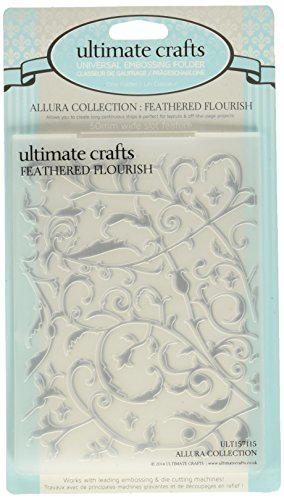 Ultimate Crafts Allura Collection Embossing Folder, Feathered Flourish - Flourish Collection