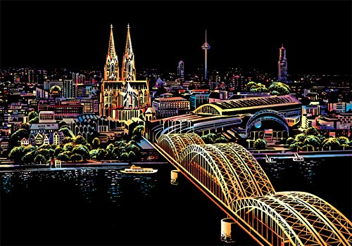 C-pop Scratch Art Paper DIY Night View Scratchboard for Adult and Kids,Four Series Size 11.2''x16''-Cologne - Cologne Best World