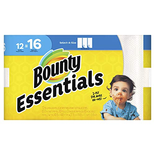 Bounty Essentials 74682 Select-a-Size Paper Towels, 5 9/10 x 11, 2-Ply, White, 83 Sheets/ Roll (Pack of 12) ()