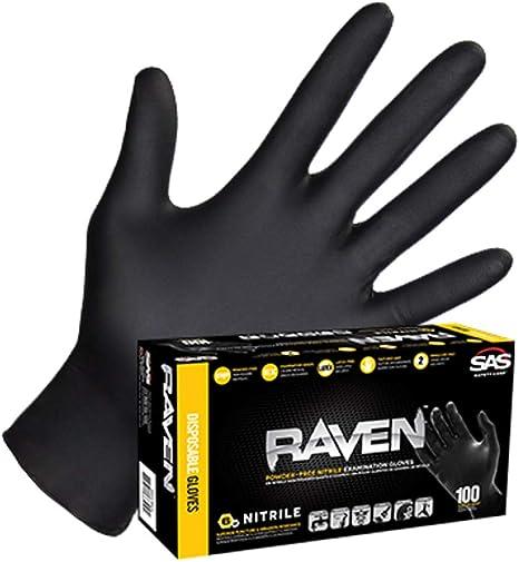 RAVEN Nitrile Glove Pack of 3 Pairs 6mil SAS Size Large