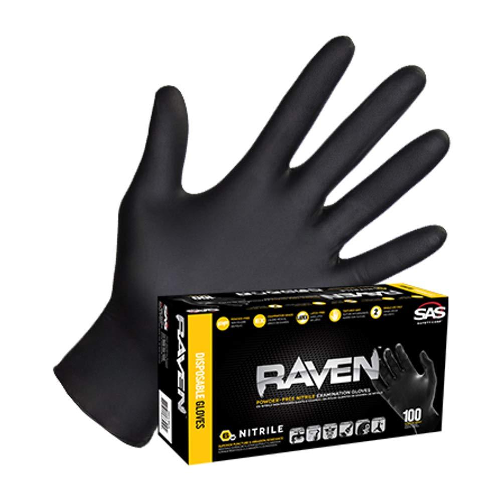 SAS66518 SAS Safety Raven Powder Free Examination Black Nitrile Gloves - Large