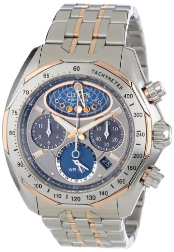 Citizen Men's AV3006-50H The Signature Collection Eco-Drive Moon Phase Flyback Chronograph Watch (Moon Wrist Watch Phase Chronograph)
