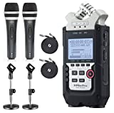 Zoom H4n PRO 4-Channel Handy Recorder with the Movo Podcasting Bundle including 2-Pack of Handheld Microphones, Tabletop Mic Stands, Clips & Cables